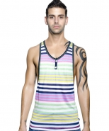 Henley Racer Back Tank Multi Stripe