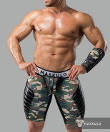 Maskulo fetish shorts codpiece + rear zip camo woodland