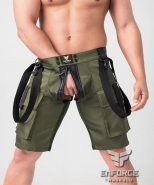 Enforce two-sides zippered shorts dark olive
