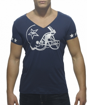 AD300 Helmet V-Neck T-Shirt Navy