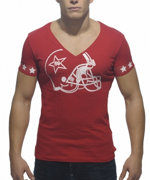 AD300 Helmet V-Neck T-Shirt Red