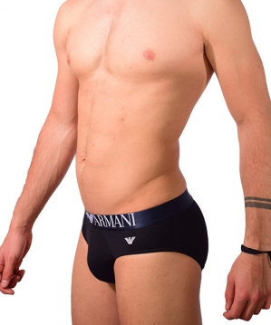 Colored Basic Shiny Logo Band Brief Black