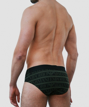 All Over Logo Brief Printed Military