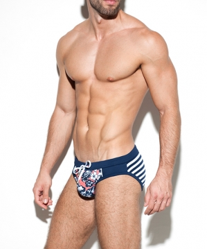 1923 Flowery Sailor Swim Brief Navy
